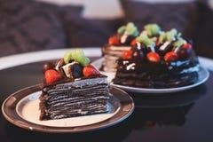 Beautiful chocolate cake with fresh berry Stock Image
