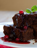 Beautiful chocolate cake with fresh berry . Royalty Free Stock Images