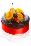 Beautiful chocolate cake with glazed fruit Royalty Free Stock Image
