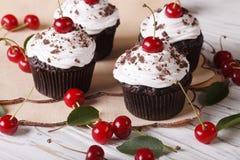 Beautiful chocolate cupcakes with white cream and cherry, horizo Stock Photo