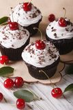 Beautiful chocolate cupcakes with white cream and cherry, vertic Stock Images