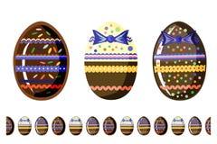 Beautiful  chokolate eggs with seamless brush isolated on white background. royalty free illustration