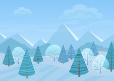 Beautiful Chrismas winter flat landscape background. Christmas forest woods with mountains. New Year winter vector Stock Photo