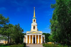Beautiful Christian Orthodox church with the inscription Church of the Transfiguration. Peter and Paul Cathedral in the royalty free stock image
