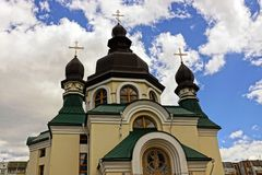 Beautiful christian temple with domes and crosses against the sky Royalty Free Stock Photos