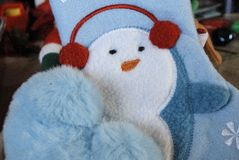 Pretty baby blue Christmas soft items. royalty free stock photography
