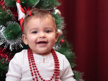 Beautiful christmas baby Stock Photo