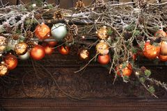 Christmas background with baubles on branches. Beautiful Christmas background with baubles on branches Royalty Free Stock Image