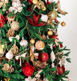 Beautiful Christmas background. Decorated Christmas tree. Beautiful Christmas living room with Christmas tree Stock Images