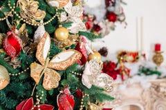 Beautiful Christmas background. Decorated Christmas tree. Beautiful Christmas living room with Christmas tree Stock Photos