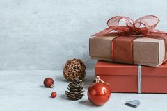 Beautiful Christmas background with decorations and gift boxes o stock image