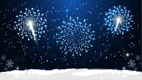 New Year Night is Time for Dreams Coming True. Vector Illustration. Beautiful Christmas Background with Fireworks and Snow Falling. Realistic New Year Night Royalty Free Stock Photos