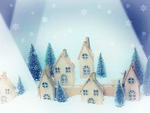Beautiful Christmas background greeting card. Winter scenery snow forest and houses. New Year.  stock photography