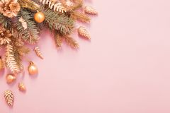Free Beautiful Christmas Background In Gold And Pink Colors Stock Image - 164654021