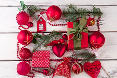 Beautiful Christmas background with New Year decorations. Stock Images