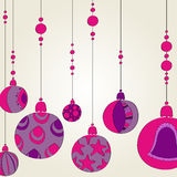 Beautiful Christmas background with purple globes Stock Images