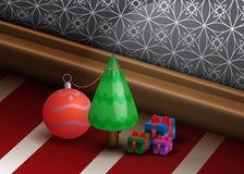 Beautiful Christmas Background with Small Pine Tre Stock Photos