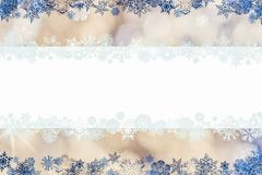 Beautiful christmas background with snowflakes and place for text. Christmas card with snowflakes and place for greetings on on a blurry gold-white-blue vector illustration
