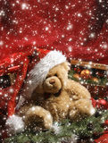 A beautiful Christmas background with a Teddy bear Royalty Free Stock Images