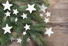 Beautiful christmas background: white stars Royalty Free Stock Photo