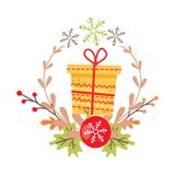 Beautiful Christmas Badge on White Background. Pretty yellow Christmas badge on white background. Vector illustration of holiday decor elements autumn leaves Royalty Free Stock Photography
