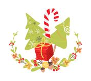 Beautiful Christmas Badge on White Background. Vector illustration of holiday decor elements autumn leaves, red guelder roses and small acorn. Wreath surround Royalty Free Stock Image