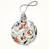 Beautiful Christmas ball. Doodle ethnic stylized design. Vector element. Cartoon style. Royalty Free Stock Photo