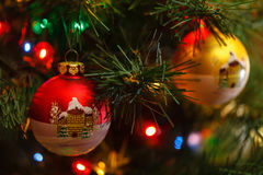 Beautiful Christmas ball on the tree branches. Stock Image