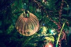 Beautiful christmas ball on xmas tree. Beautiful christmas decorations on xmas tree Royalty Free Stock Photos