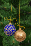 Beautiful Christmas balls on  background of green fir-tree Stock Photography
