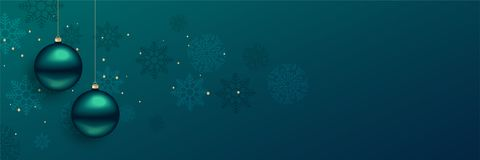 Beautiful christmas balls banner with text space. Vector stock illustration