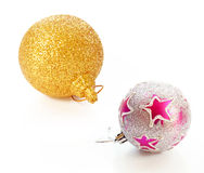 Beautiful christmas balls with glitter ornament isolated on white background Royalty Free Stock Photography