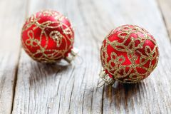 Beautiful Christmas balls with gold ornament. Stock Photography