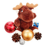 Beautiful christmas balls and pinecones Stock Photo