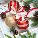 Beautiful christmas balls with tapes Royalty Free Stock Images