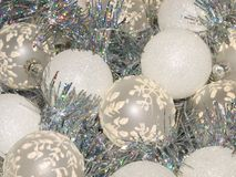 Festive New Year`s beautiful decorations. Beautiful Christmas balls and tinsel Stock Images