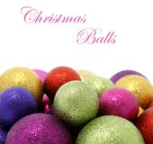 Beautiful Christmas balls on white Stock Photography