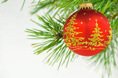 Beautiful Christmas balls on a white background Stock Photos
