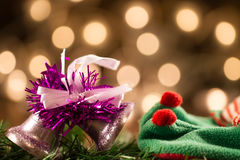 Beautiful Christmas bell in the background defocused yellow lights. Stock Photography