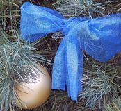 A Beautiful Christmas Bow. Adorns a family Christmas Tree stock photo
