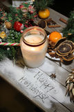 Beautiful Christmas candle and decorations Stock Photography