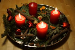 Beautiful Christmas candles in a close-up Royalty Free Stock Image