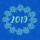 Flat design of a New Year`s card. Beautiful Christmas card - Christmas wreath on snowy background pattern. 2019 New Year vector illustration