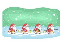 Cute Santas with garland and snow on background. royalty free illustration