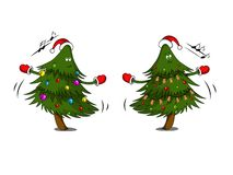 Cute Christmas trees with garland are dancing. vector illustration