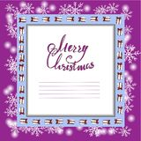Beautiful Christmas card with a frame of gifts and snowflakes. Vector file. stock illustration
