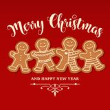 Beautiful Christmas card with gingerbread family stock illustration
