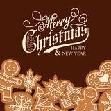 Beautiful Christmas card with gingerbread vector illustration