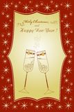 Beautiful Christmas card with glasses Royalty Free Stock Photos