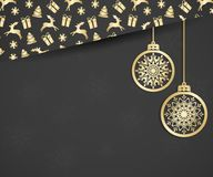 Beautiful Christmas card with hanging christmas balls and christmas elements: Christmas gifts, fir, reindeer, snowflake. Elegant background for New Year`s Stock Photography